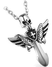 Flongo 天使の翼 ペンダント ネックレス クロス 髑髏 メンズペンダント ステンレス ネックレスペンダント シルバー