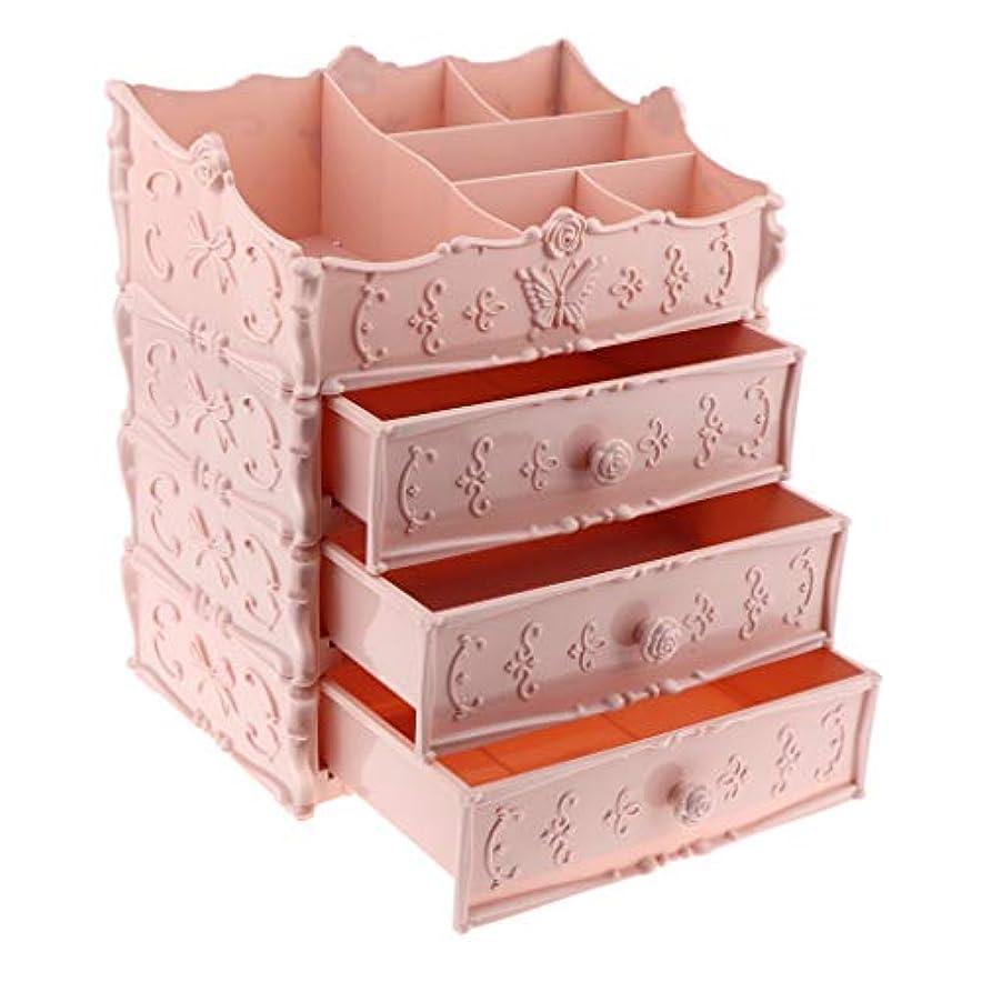 無し財布動作化粧品ボックス 引き出し メイクボックス 3層 全3選択 - ピンク