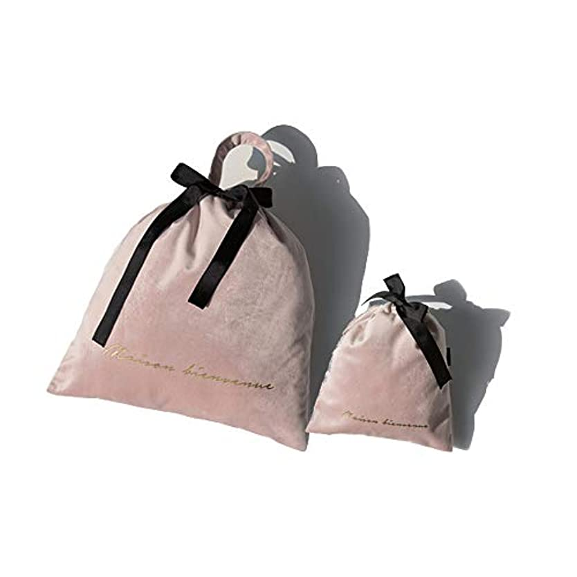 SIRIN メイクポーチ ベルベット 巾着袋 化粧ポーチ コスメポーチ 旅行出張用収納バッグ 巾着ポーチ 小物入れ メイク用品 キャリーケース 大容量 携帯用 4色選べる 軽量 おしゃれ プレゼント ギフト (ピンク)