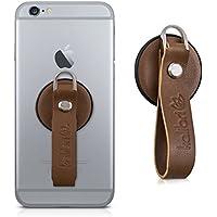 kalibri スマートフォン/タブレット 向け フィンガーホルダー 茶色 - 快適な 本物レザー スマホ 指-ホルダー
