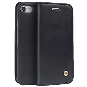 iPhone7 ケース 手帳型 財布型 COOLOO 高級PUレザー 耐衝撃・ICカード収納・横置きスタンド機能付き マグネット式(iPhone7 ブラック)