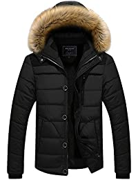 Qingxian メンズ ダウンジャケット秋冬 綿 厚手ダウンジャケット ファー付き アウター コート 高品質 防寒コート 冬の暖かいコート