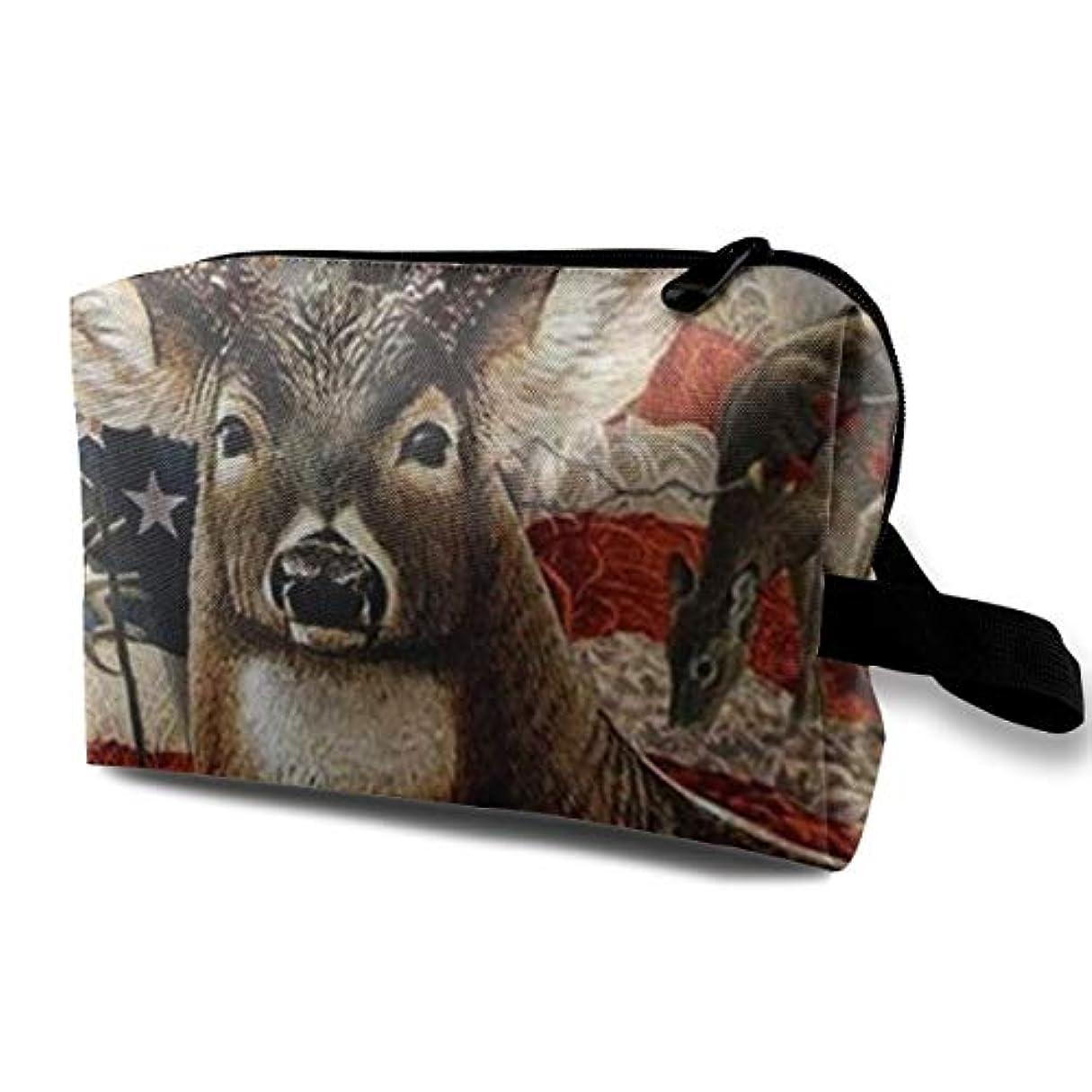 知覚する第二にタヒチDeer Hunting Season With USA Flag 収納ポーチ 化粧ポーチ 大容量 軽量 耐久性 ハンドル付持ち運び便利。入れ 自宅?出張?旅行?アウトドア撮影などに対応。メンズ レディース トラベルグッズ