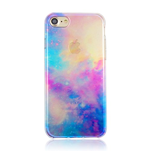iPhone7/8 宇宙柄 ライトブルー 人気の宇宙柄 シリコンのような柔らかいTPU素材
