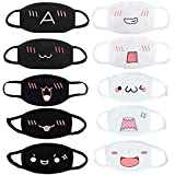 10 PCS Anime Face Mask Emoticon Mouth-Muffle Unisex Kawaii Cartoon Cute Anti-dust Mask, 5 White and 5 Black