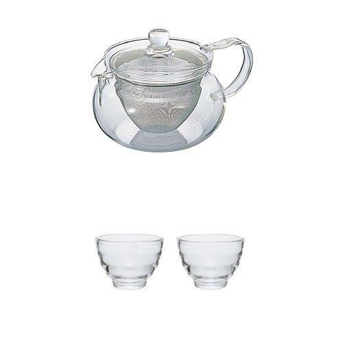 【セット買い】HARIO (ハリオ) 茶茶 急須 丸 450ml & 耐熱 湯呑み 2客セット