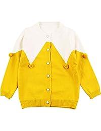 MiXiaoJie 子供服 女の子 ニットセーター 長袖 可愛い ポンポン飾り カーディガン 編み物 ラウンドネック 前ボタン 重ね着風 バイカラー 防寒 暖かい 秋冬 ファッション カジュアル