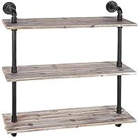 MyGift 3-shelf Industrialスタイルパイプ&素朴な木製壁マウント棚ユニット