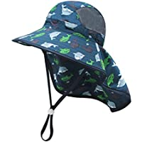 Baby Sun Hat Wide Brim Boy Girl 50+ UPF Toddler Adventure Mesh Hat with Neck Flap Chin-Strap Adjustable for Kid 1-6T