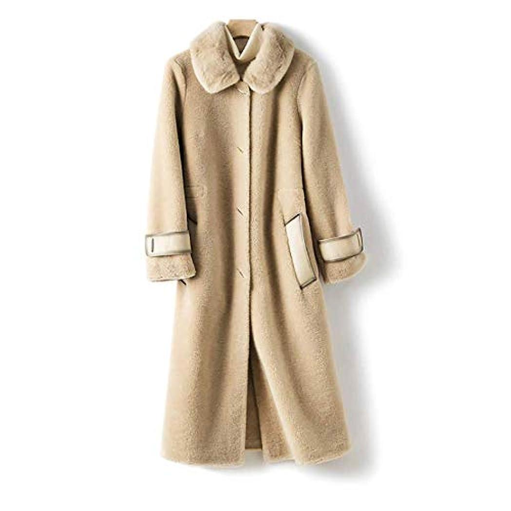 晩ごはんメンタルスキルウールコート婦人服、レディースジャケットレディースコートレディースウインドブレーカージャケットミンクファーカラーウールシープシアリング顆粒ロングコート,B,L