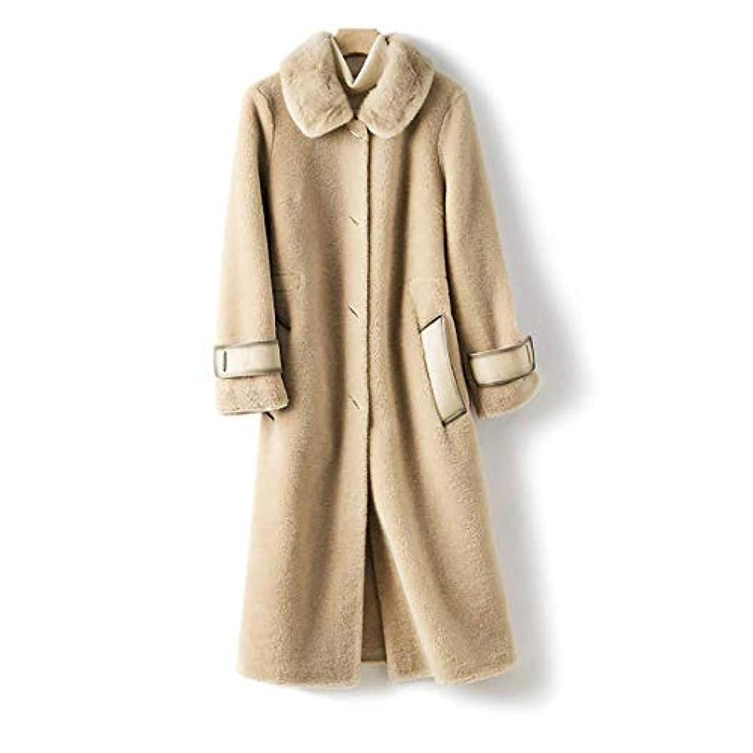 軽側面開示するウールコート婦人服、レディースジャケットレディースコートレディースウインドブレーカージャケットミンクファーカラーウールシープシアリング顆粒ロングコート,B,L