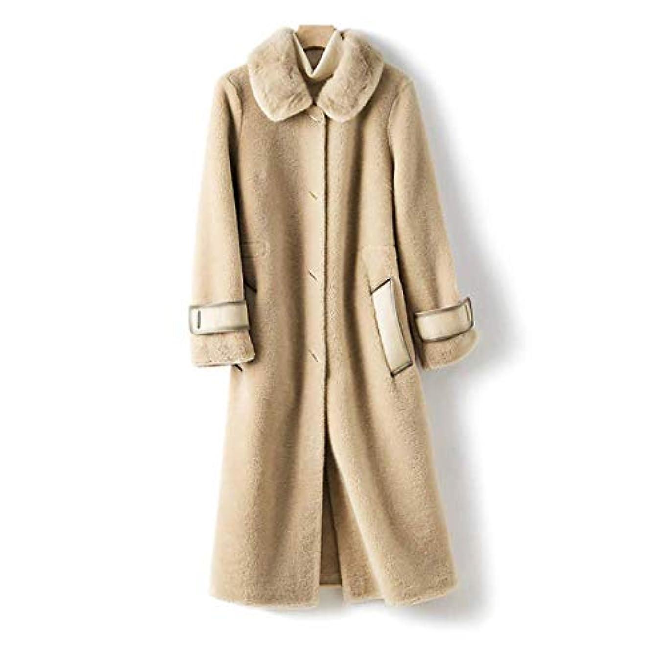 準拠超越するブートウールコート婦人服、レディースジャケットレディースコートレディースウインドブレーカージャケットミンクファーカラーウールシープシアリング顆粒ロングコート,B,L