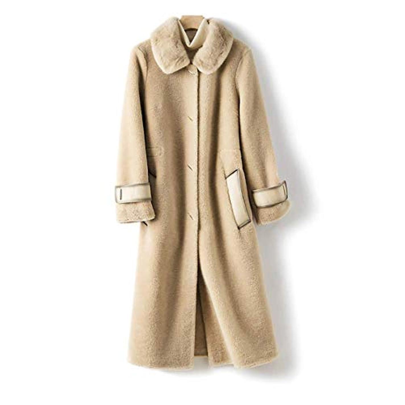 ヒロイック光めったにウールコート婦人服、レディースジャケットレディースコートレディースウインドブレーカージャケットミンクファーカラーウールシープシアリング顆粒ロングコート,B,L