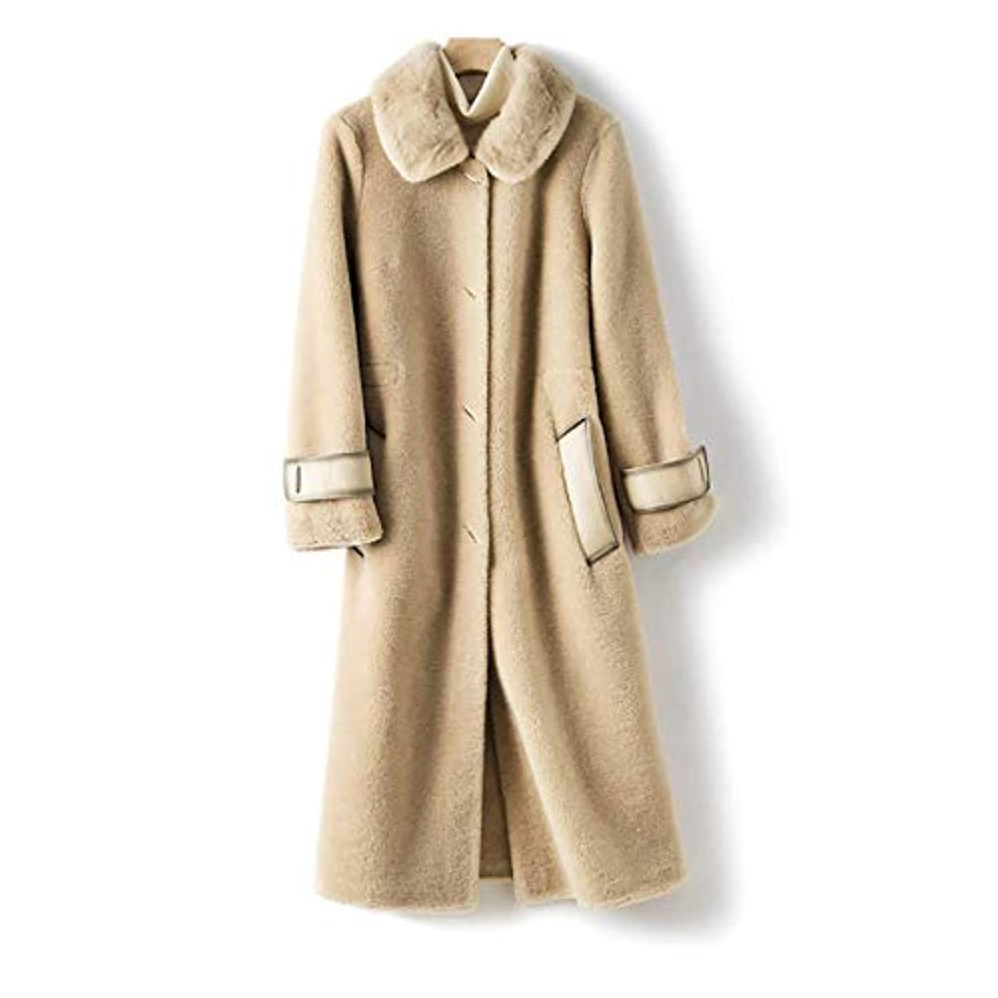 ヤギ元気なもっとウールコート婦人服、レディースジャケットレディースコートレディースウインドブレーカージャケットミンクファーカラーウールシープシアリング顆粒ロングコート,B,L