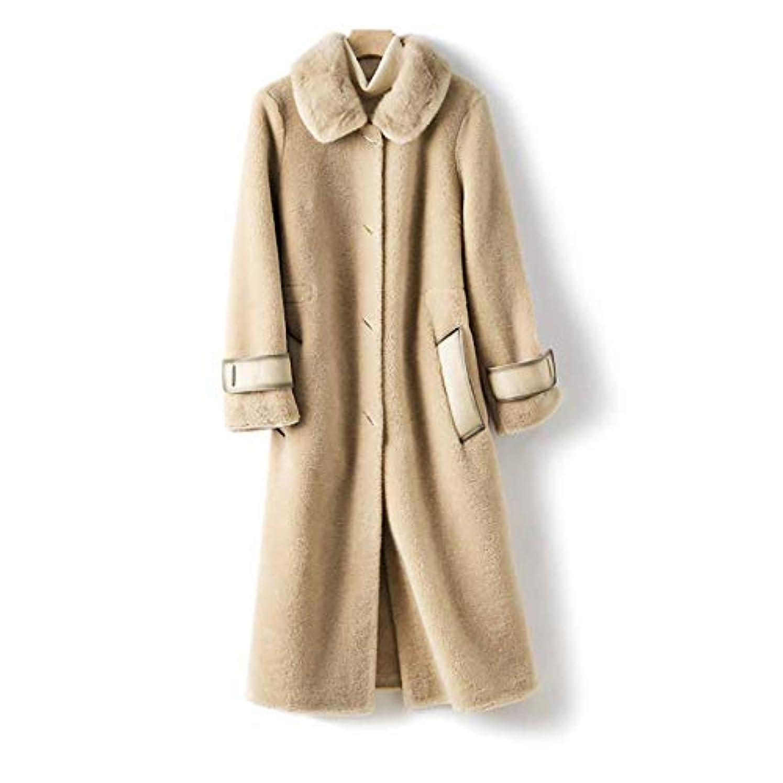 貧困落胆した調和のとれたウールコート婦人服、レディースジャケットレディースコートレディースウインドブレーカージャケットミンクファーカラーウールシープシアリング顆粒ロングコート,B,L