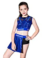 スパンコール ダンス衣装 チアダンス 衣装 女の子 ヒップホップ チア チアガール 衣装 ヒップホップ ジャズダンス 衣装 (ブルー, 130)