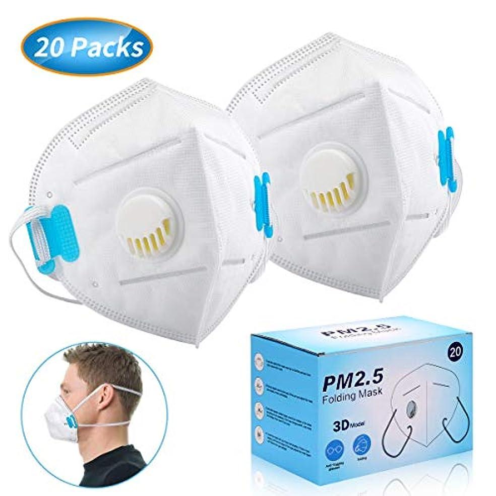 付添人手波紋使い捨て マスク 排気弁付き 立体 ますく 頭掛け ふつうサイズ PM2.5対応 個包装 20枚入れ