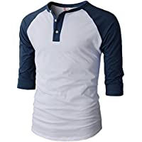 H2H Mens Casual Slim Fit Henley T-Shirts Raglan Baseball Sleeve of Various Styles