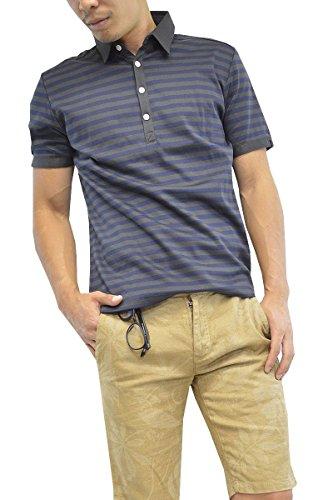 ボーダーポロシャツ (S, チャコール×ネイビー)