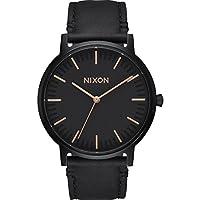 Nixon Porterレザーメンズ腕時計 すべてブラック/ローズゴールド