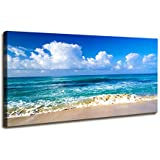 Blue Beach theme Modern Stretched and Framed Seascape 1 Panels Giclee Canvas Prints Artwork Landscape Pictures Paintings on C