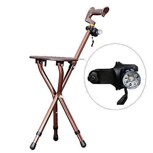 Mldeng ステッキチェア 3脚 折りたたみ 杖 椅子 5段階調節 伸缩 軽量 介護 アウトドア椅...