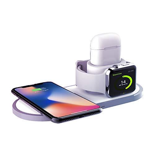 最新版 Qi ワイヤレス充電器 急速 3 in 1充電スタンド apple watch スタンド Airpods/Apple Watch充電器 iPhone X/XS/XR/XS Max/ 8/8 Plus Qi 急速充電対応 Galaxy S9/S9 Plus/Note8/S8/S8 Plus/S7/S7 Edge/S6 Edge Plus 10W対応 その他Qi対応機種も適用