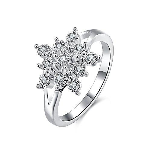 [ノーブランド] レディース リング Ladies Ring Diamonds Snowflake スノーフレーク型 Diamonds ホワイトシルバー 銀メッキ JP 16# HX-LKNSPCR853-USA8 [並行輸入品]
