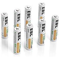 EBL 充電式ニッケル水素電池 単4形8個パック ケース2個付き 高容量1100mAh 約1200回使用可能