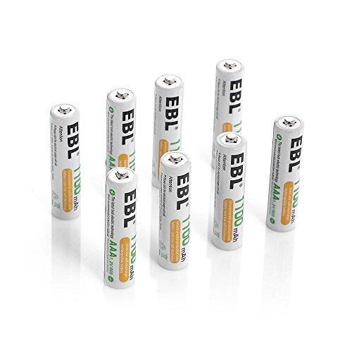 EBL 充電式ニッケル水素電池 単4形8個パック (高容量1100mAh 約1200回使用可能)