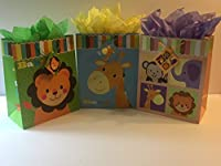 Baby Gift Bags Large with Tissue Paper Bundle of Three Bags [並行輸入品]