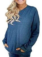 chenshiba-JP 女性カジュアルトップロングスリーブ丸首スウェットシャツは、フィットフィットブラウス Blue XS