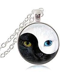 陰陽猫ネックレスMagic動物ペンダントYing Yang Cat Eyeジュエリーガラスカボションペンダントシルバーチェーン