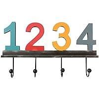 Healifty 壁フック ウォールハンガー 掛けフック ワイヤー 数字デザイン レトロ ヴィンテージ 服 コートと 帽子 掛け フック 壁掛け 収納 装飾 玄関/リビング/浴室/室内インテリア