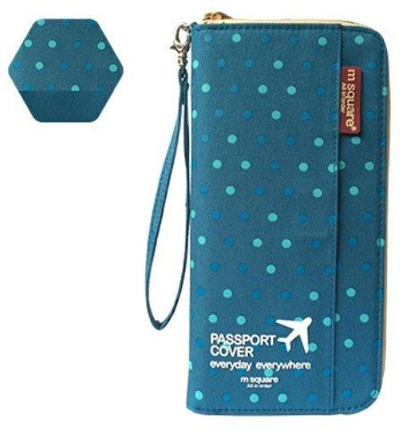 KISH 旅行 パスポートケース コンパクト 多機能 落下防止 ストラップ付 かわいい カバー (水玉ブルー, L)