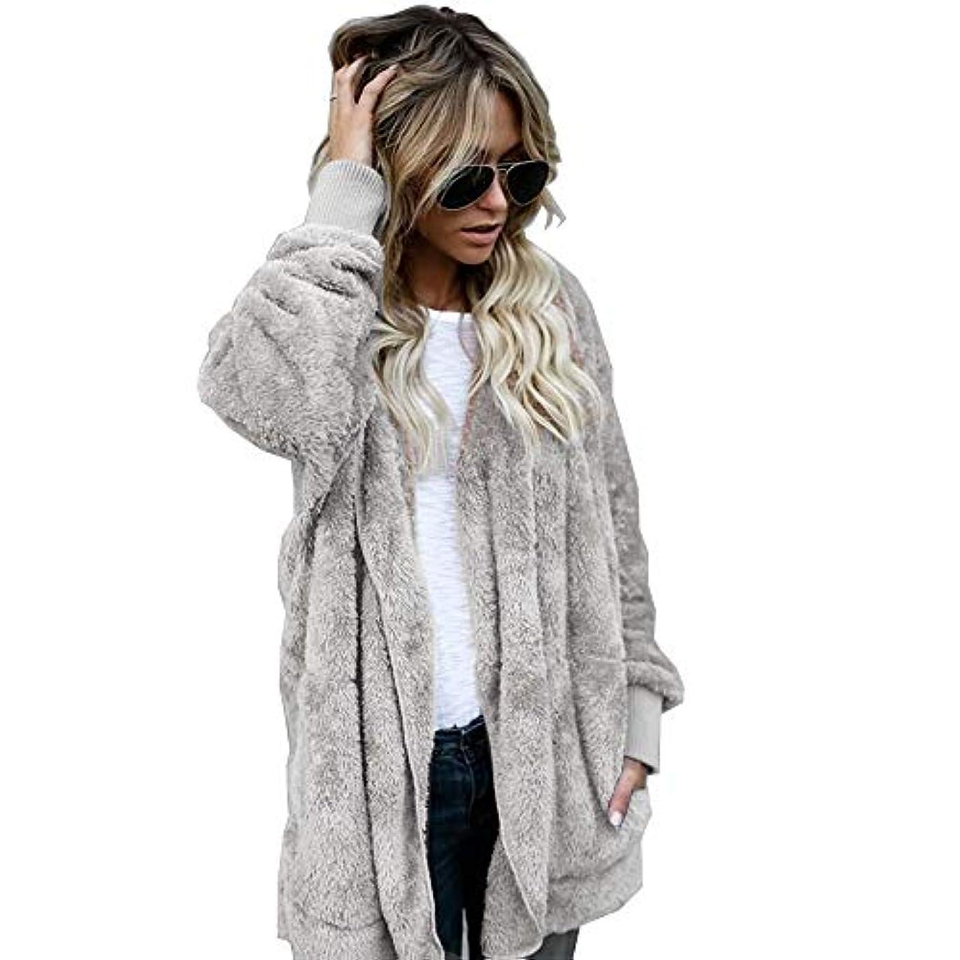病気疎外するのりMIFAN 長袖パーカー、冬のコート、女性のコート、女性の緩い厚く暖かいフェイクファーフード付きカーディガン