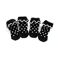 FidgetGear 4本/セット小型ペット子犬犬の靴下コットンアンチスリップ暖かい靴下犬のスキッドシューズ #7黒
