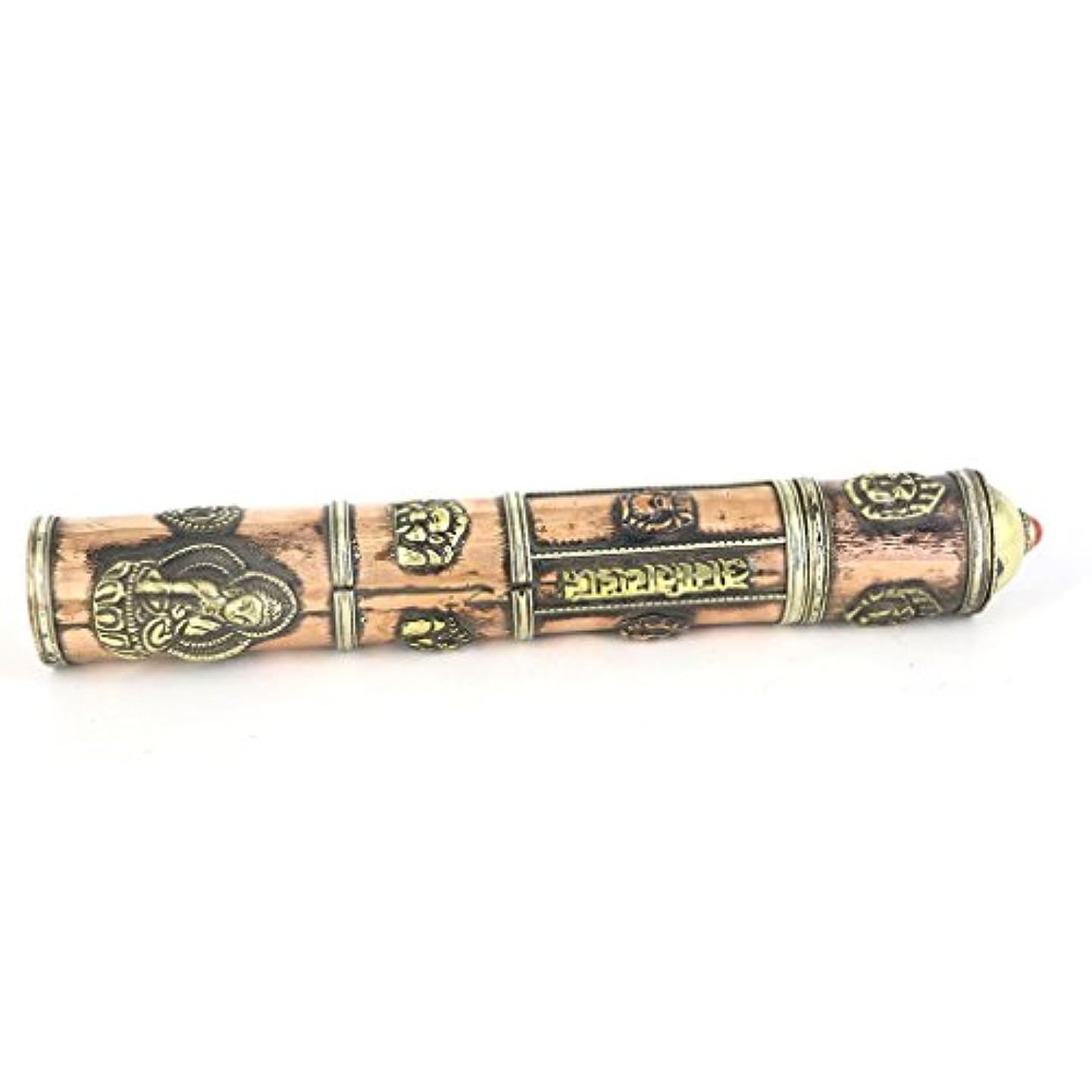 MagiDealチベット真鍮アンティーク風お香ボックスメタル吉祥Amulet Incenseケース8インチ