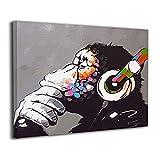 BLI BYAN Banksy バンクシー チンパンジー アートパネル ポスター フレームレス装飾画 壁掛け 壁アート 玄関 インテリア おしゃれ 部屋 40x50cm