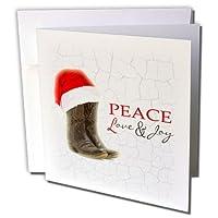 Janna Salak Designsクリスマス–素朴なカウボーイブーツとサンタハット平和、愛と喜び–グリーティングカード Set of 12 Greeting Cards