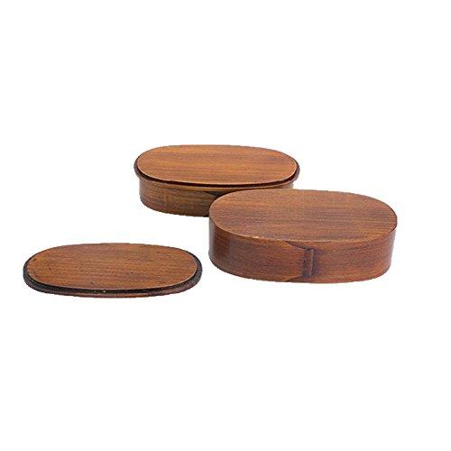 Manav 天然杉 木製 くりぬき 仕切り入 お弁当箱 二段弁当箱 軽量 大容量 【 容量1150cc】