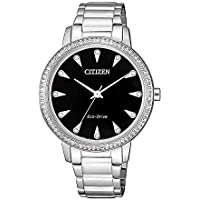 Citizen Women's Solar Powered Wrist Watch analog Display and Stainless Steel Strap, FE7040-53E