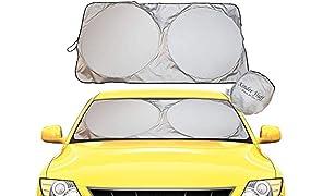 kinder Fluff Windshield Sun Shade -Luxurious 210T Fabric in The Market Maximum UV Sun Protection -Foldable Sunshade car Windshield Will Keep Your car Cooler- Windshield Sunshade (XLarge)