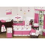 Sweet Jojo Designsピンク幸せフクロウ装飾アクセントThrow枕