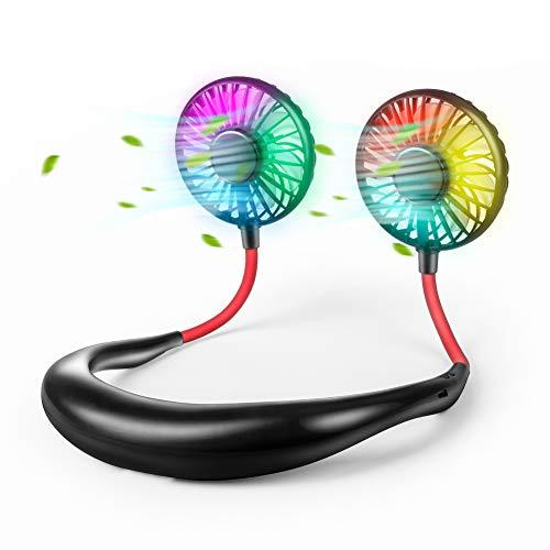Beair 2019年新発売 ポータブル扇風機 首掛け式 ハンズフリー ミニ扇風機 低騒音 360°角度調整 小型 超軽量 3段階風量調節 携帯ファン usb充電式 超大容量2000mAh ダブルファン 熱中症対策 旅行/オフィス/アウトドア/花火大会など適用 持ち運びに便利