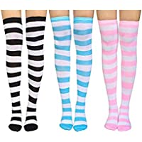 Qkpar Women's 3 Pairs Long Striped Thigh High Socks Over Knee Stockings