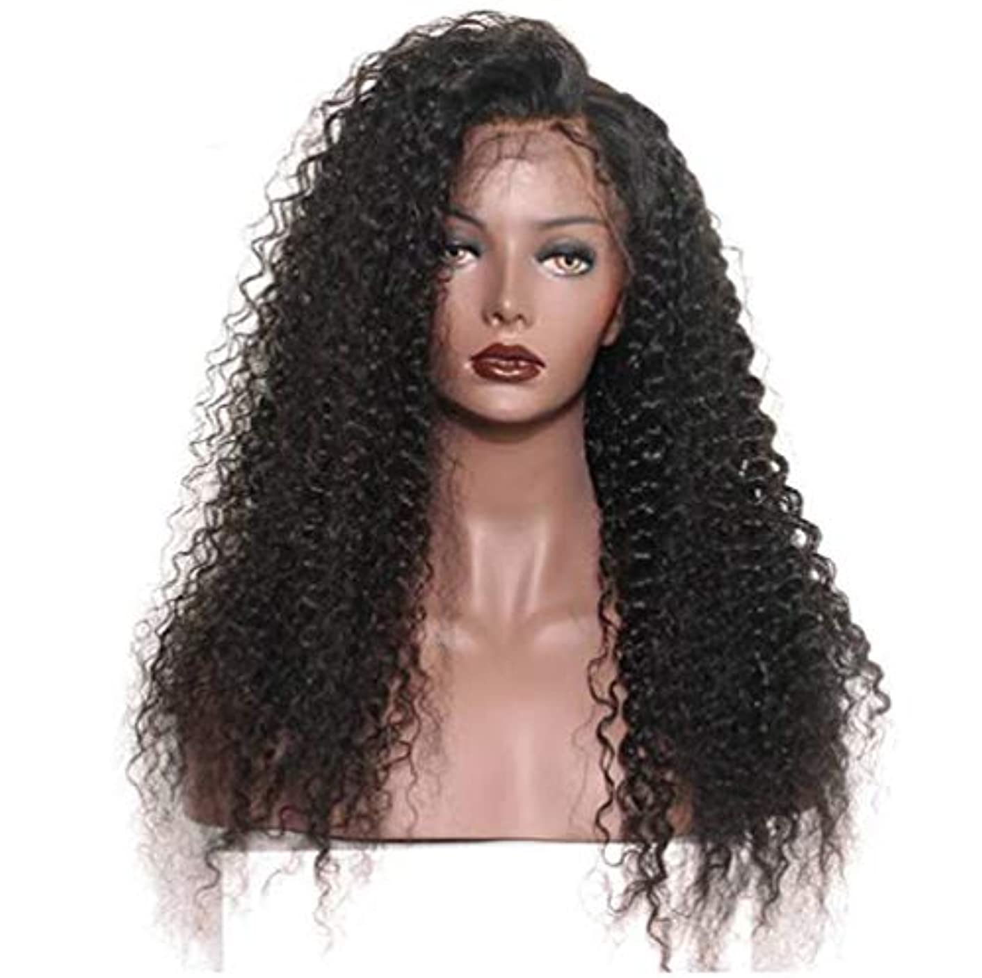 確認してください証言意欲女性のレースフロントかつら人間の髪と赤ちゃんの毛合成ブラジルボディ波バージン毛150%密度黒24インチ