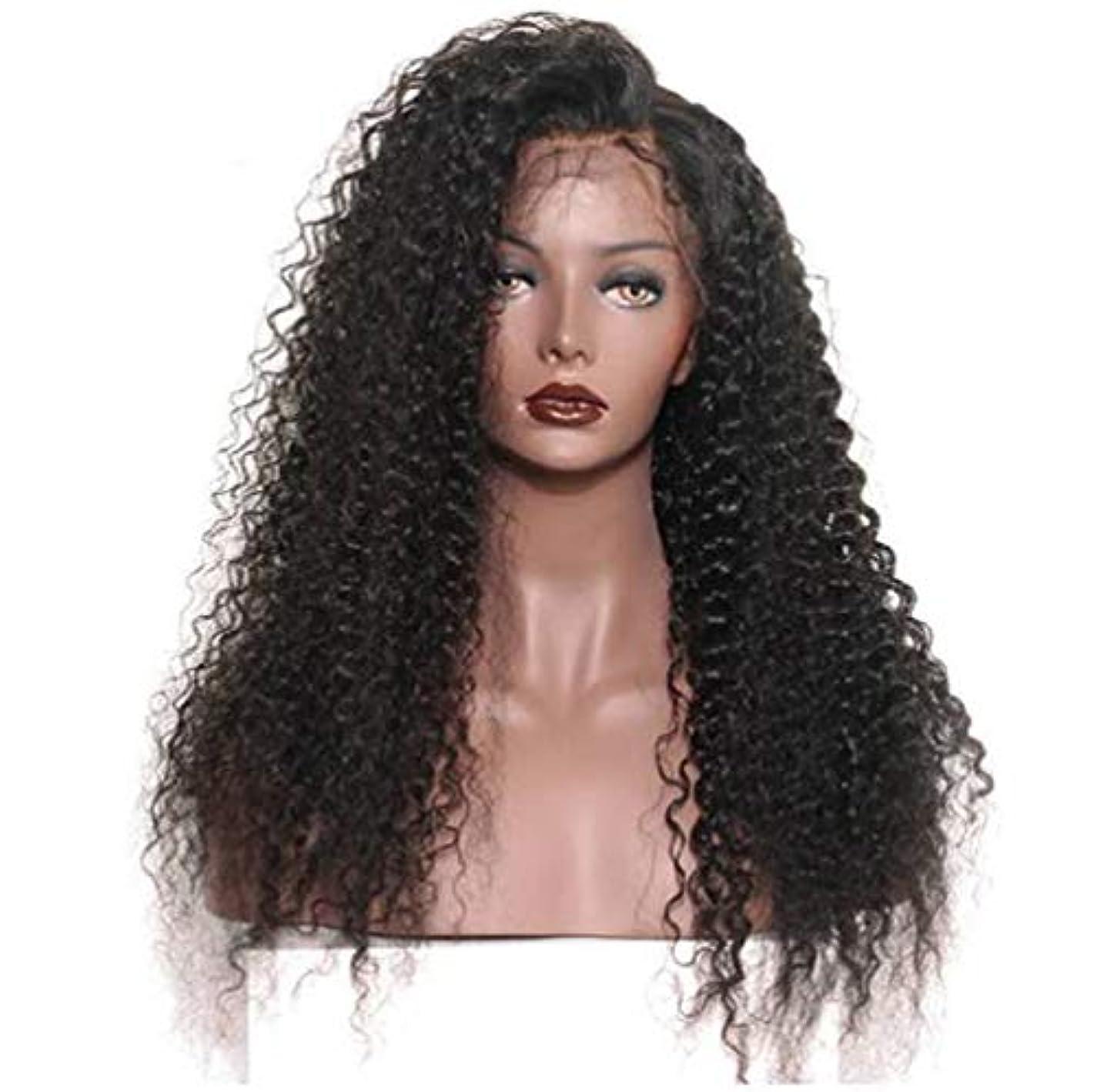 夢守銭奴拍車女性のレースフロントかつら人間の髪と赤ちゃんの毛合成ブラジルボディ波バージン毛150%密度黒24インチ