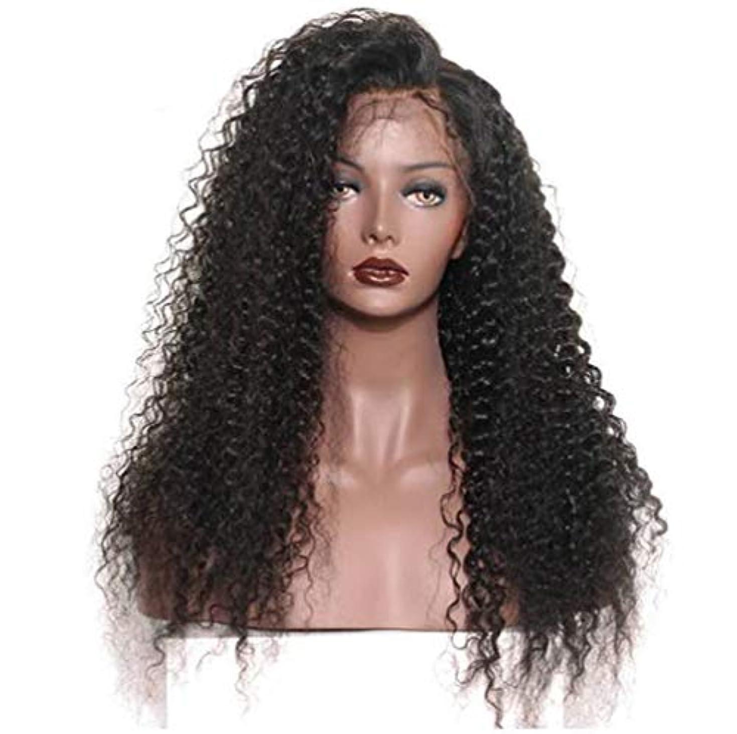 国歌戦艦キャンディー女性のレースフロントかつら人間の髪と赤ちゃんの毛合成ブラジルボディ波バージン毛150%密度黒24インチ