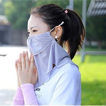 Casomiフェイスカバー冷感 ネックガード鼻部分開口で呼吸しやすいラッシュガーくない 冷感保護日焼け止め防塵UPF 50 + UV通気性軽量滑り止め 日焼け防止フェイスマスク (グレー)